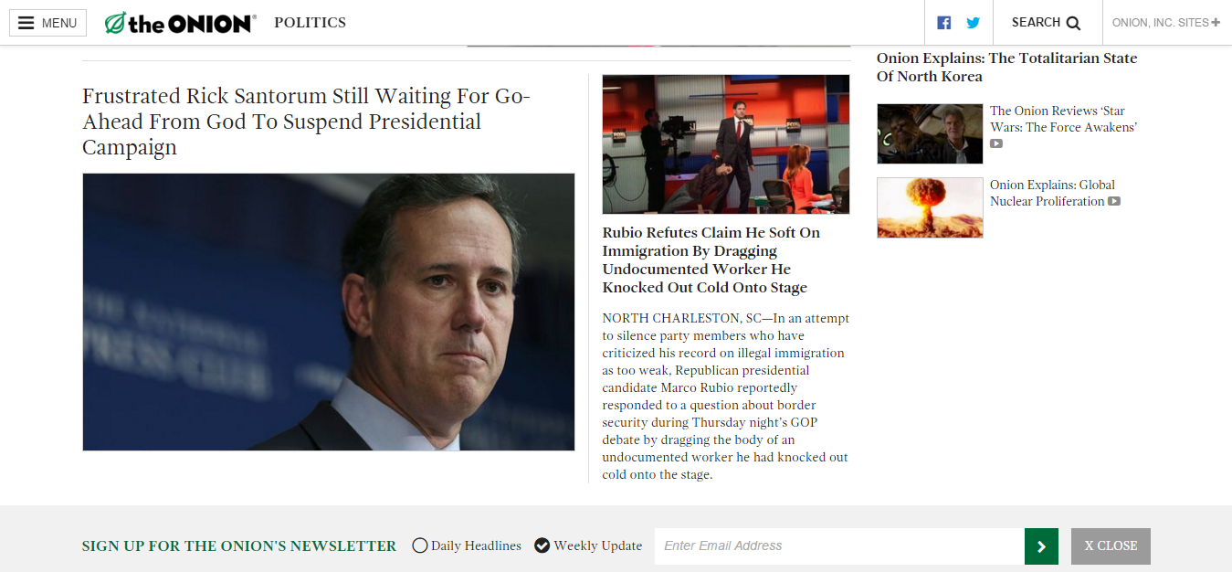 satirical article by the onion The onion has been unflinchingly satirizing the separation of immigrant children from their parents has the satirical publication gone too far.