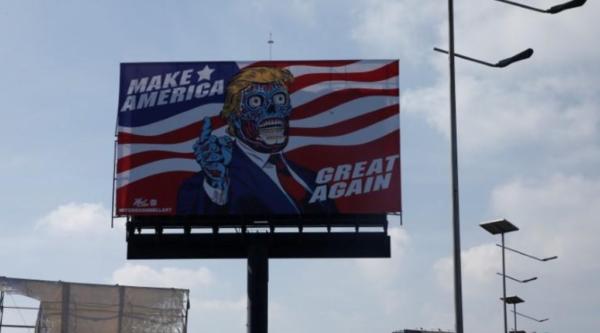 Alien Donald Trump appears on Mexico City billboard