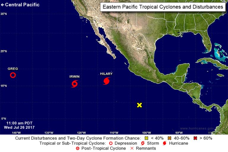 2 hurricanes roar in Pacific far off western Mexico